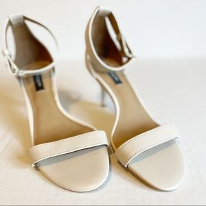 ANN TAYLOR Ankle Strap Nude Heels Leather Upper